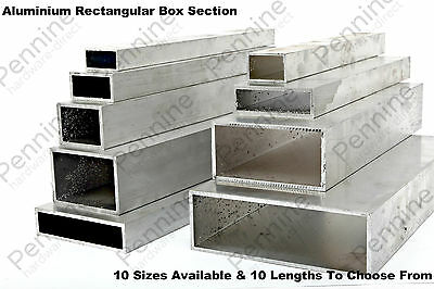 Aluminium RECTANGULAR Box Section 10 Sizes Available & 10 Lengths To Chose From
