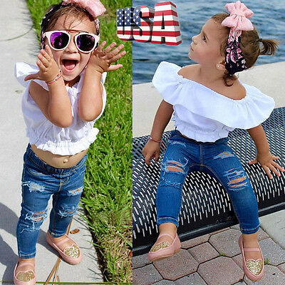 2PCS Toddler Baby Girl T-shirt Crop Top+Cropped Denim Pants Outfits Clothes Suit