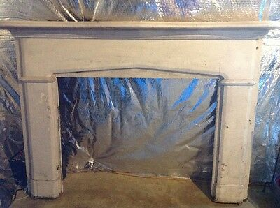 Vintage Antique French Curved Wooden Fireplace Mantel 66 x 49