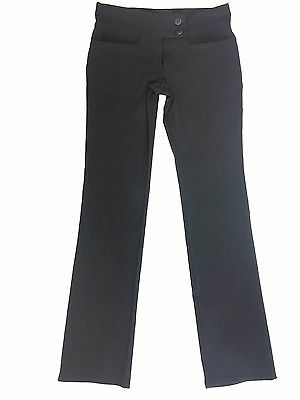 Girls Black School 2 Button Trousers Girls Hipster Pants Stretch Trouser