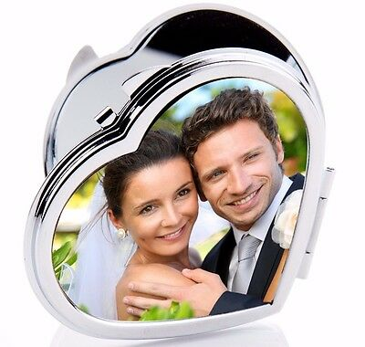 Custom Photo Compact Mirror Heart Shape Make Up Accessory Personalized Gift