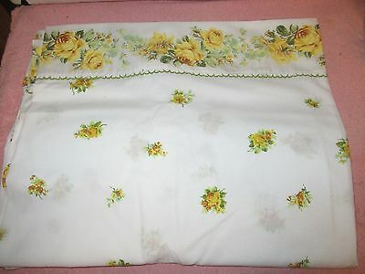 Vintage White w/Yellow Roses Full-Size Flat Sheet - Out of Package Never Used
