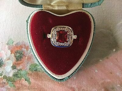 Antique Art Deco vintage Sterling Silver Ring size 7 with Ruby and Sapphires