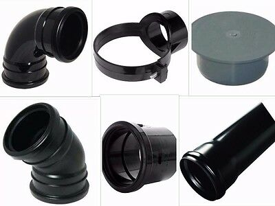 Black Soil Pipe and Ring Seal Fittings, Clips, Etc UPVC 110mm