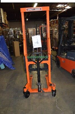"""Fork Over Manual Stacker 2,200 lb 63"""" lift height 22 x 45"""
