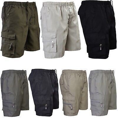 Mens Summer Elasticated Plain Shorts Cotton Lightweight Cargo Combat Pants M-3XL
