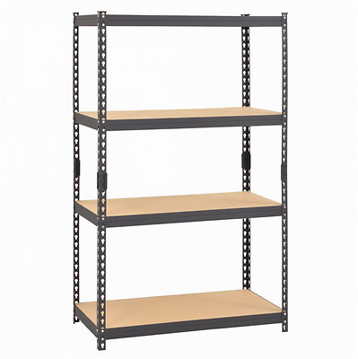 "Edsal CR364P-GY Steel Boltless Rivet Particle Board Shelving, 4 Shelves, 60"" He"
