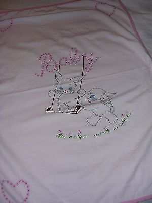 "CUTE 1950's Embroidered Pink Baby Blanket Bunny Rabbits 33""x 23"""