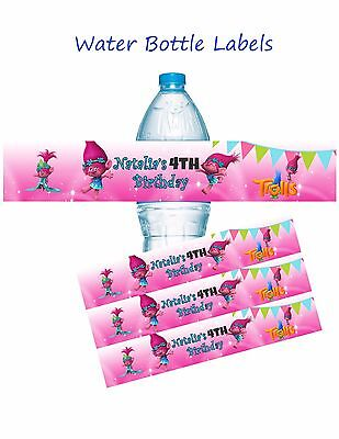 Trolls, Trolls water bottle labels, Birthday, Water Bottle Labels, Poppy