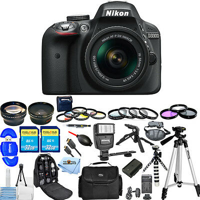 Nikon D3300 24.2MP Digital SLR W/ AF-P 18-55mm VR Lens (Black) ALL YOU NEED KIT!