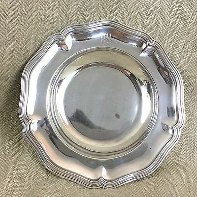 Antique Ercuis Silver Plated Bowl Dish French Monogram C Scalloped