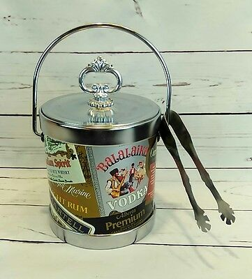 Vintage Canadian Liquor Ice Bucket W/ Whiskey Vodka Advertising Silver Tongs Lid