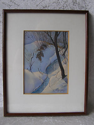 Antique Aquarell Landschaft Winterlandschaft Sig. J. Holzmeier 1948