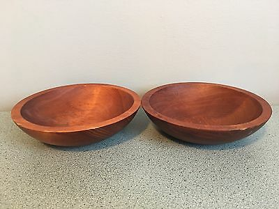 """Viintage Baribocraft Lot of 2 Small Wooden bowls 6.5"""" diameter Made in Canada"""