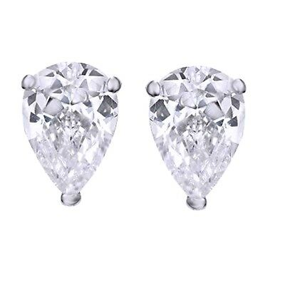 480968e13 Pear Cut Simulated Diamond Tear Drop Stud Earrings 925 Sterling Silver