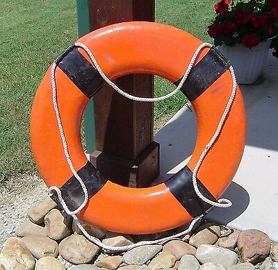 Vintage Orange Ship's Life Preserver Ring - Nautical Decor Buoy