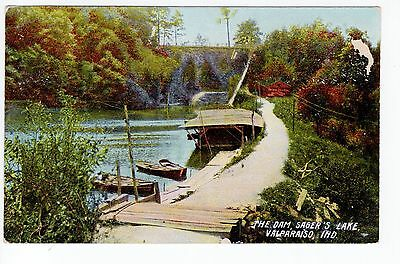 1909 Valparaiso, IN Postcard - The Dam, Sager's Lake - Posted