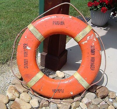 Vintage Ship's Life Preserver Ring - Sunny Voyager Panama - Nautical Decor Buoy