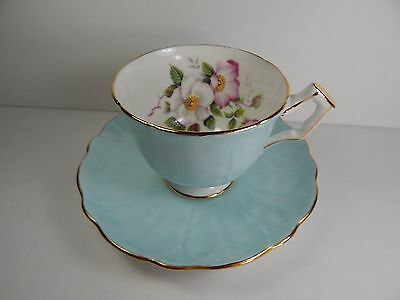 Aynsley Tea Cup and Saucer. Blue. Embossed Pedal Pattern.