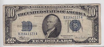 United States 1934-C $10 Silver Certificate Note FR#1704 B31641123A