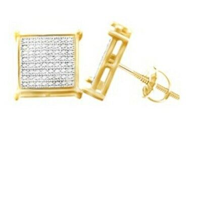 14K Yellow Gold Finish Men's 1/3CT Micro Pave Diamond Earrings 11MM