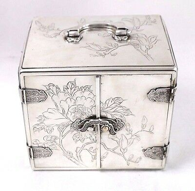"""Antique Meiji Period Japanese Silver """"Kyoka"""" Etched Jewelry Box, As-Is"""