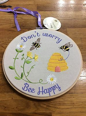 "Bee Happy embroidery Hoop Hanging Sign ""Don't Worry Bee Happy"" ideal Beekeepers"