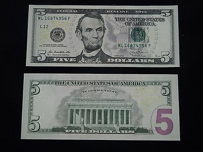 ETATS - UNIS / USA - VÉRITABLE Billet de 5 DOLLARS - 2013 - LINCOLN - NEUF
