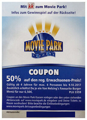 movie park gutschein coupon 50 rabatt g ltig bis eur 1 00 picclick de. Black Bedroom Furniture Sets. Home Design Ideas