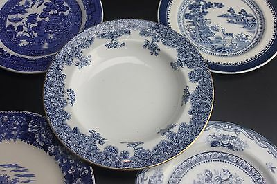 Collection Vintage Blue & White Willow Floral English Plates Worcester Haddocks