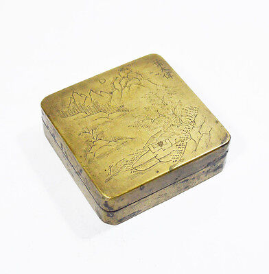 Antique Chinese Ink Box Inkstone & Calligraphy Signed