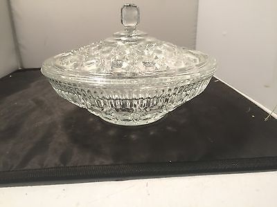 Cut Glass Vegetable / Serving Bowl With Lid Circle Pattern