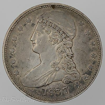 "1837 50c Capped Bust Half Dollar ""Reeded Edge"" XF /Q-756"