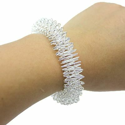 Silver Stainless Steel Bracelet Acupuncture Wrist Band Ring Bangle Hand