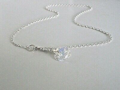 Anklet Ankle Bracelet 925 Silver Chain Made with Swarovski Clear Ab Heart Charm