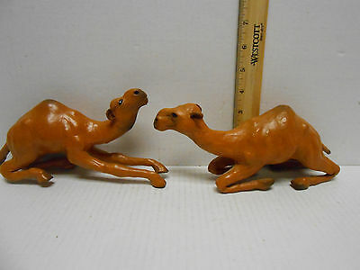 Pair of Dromedary Camel Camels Leather Wrapped  Figurine Statues
