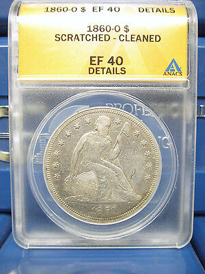 1860-O Seated Liberty Silver Dollar EF40 Details ANACS