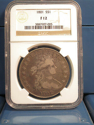 1801 Draped Bust Silver Dollar $1 ~ NGC F12  ~ Rare Certified Coin!