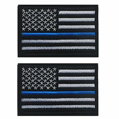Tactical USA Flag Patch Law Enforcement 2 pieces Thin Blue Line American Flag...