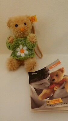Steiff Hanging Teddy Bear Mohair 028236 With Knitted Flower Sweater