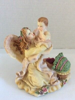 """Vintage Hand Painted Limited Edit K's Collection Guardian Angel Figurine 5"""" tall"""
