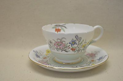 Vintage Shelley Teacup Saucer w/ Flowers + Gold trim