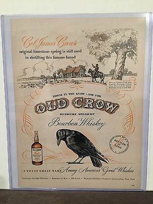 Original 1948 OLD CROW WHISKEY Advertisement - Vintage Color Ad