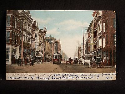 IN Evansville View of Main Street 1906 Postcard