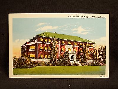 KS Ottawa Ransom Memorial Hospital Vintage Postcard