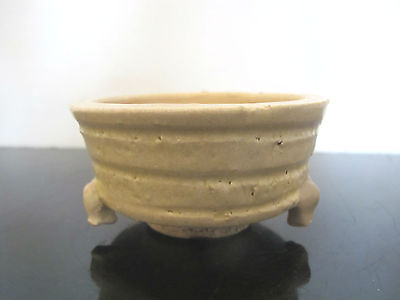 Antique Southeast Asian Taupe Footed CENSER Bowl Jar Pot
