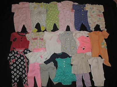 Baby Girl Size Newborn Pajama Sleepers & Outfit Sets Clothes Lot Carter's