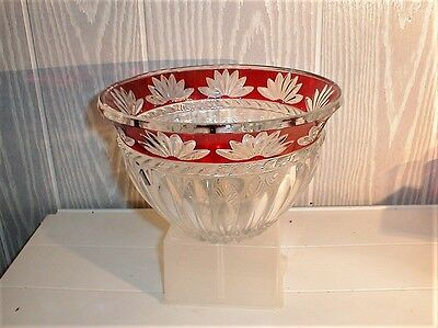 1 Large Red Flashed Bowl By Fostoria