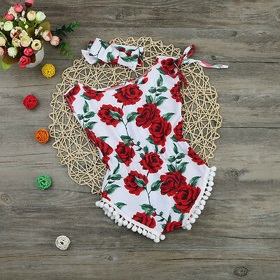 Newborn Baby Girls Sleeveless Floral Jumpsuit Romper + Headband Outfits Clothes