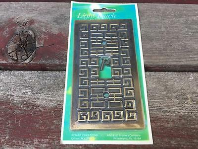 Vintage Ornate Metal Single Light Switch Cover Retro Angelo Brothers MIP NOS